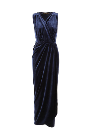 Dress Aldi long Velvet Blue