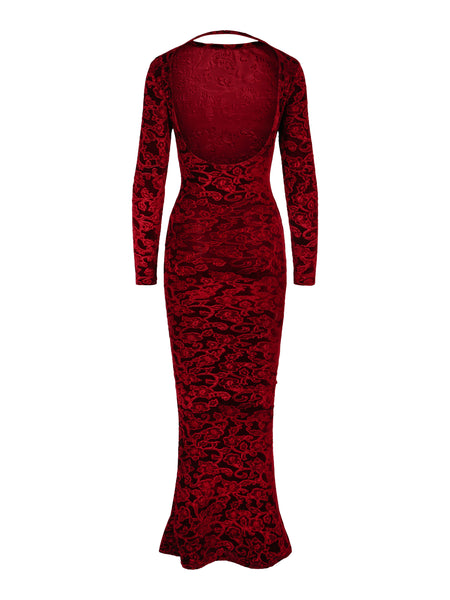 Dress Lila Brocade Wine