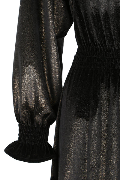 Dress Nigella Long Velvet Black/Gold