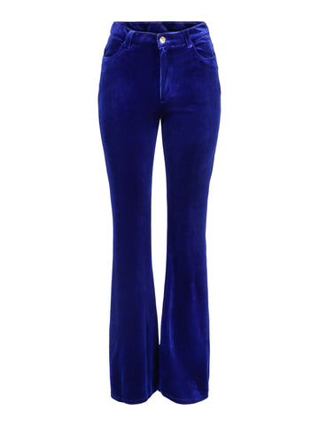 Trousers Flare Velvet Blue