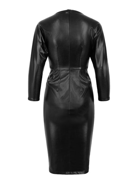 Dress Noveau Fake Leather Black