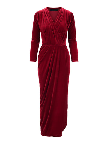 Limited Edition Dress Aldi Long Velvet Red