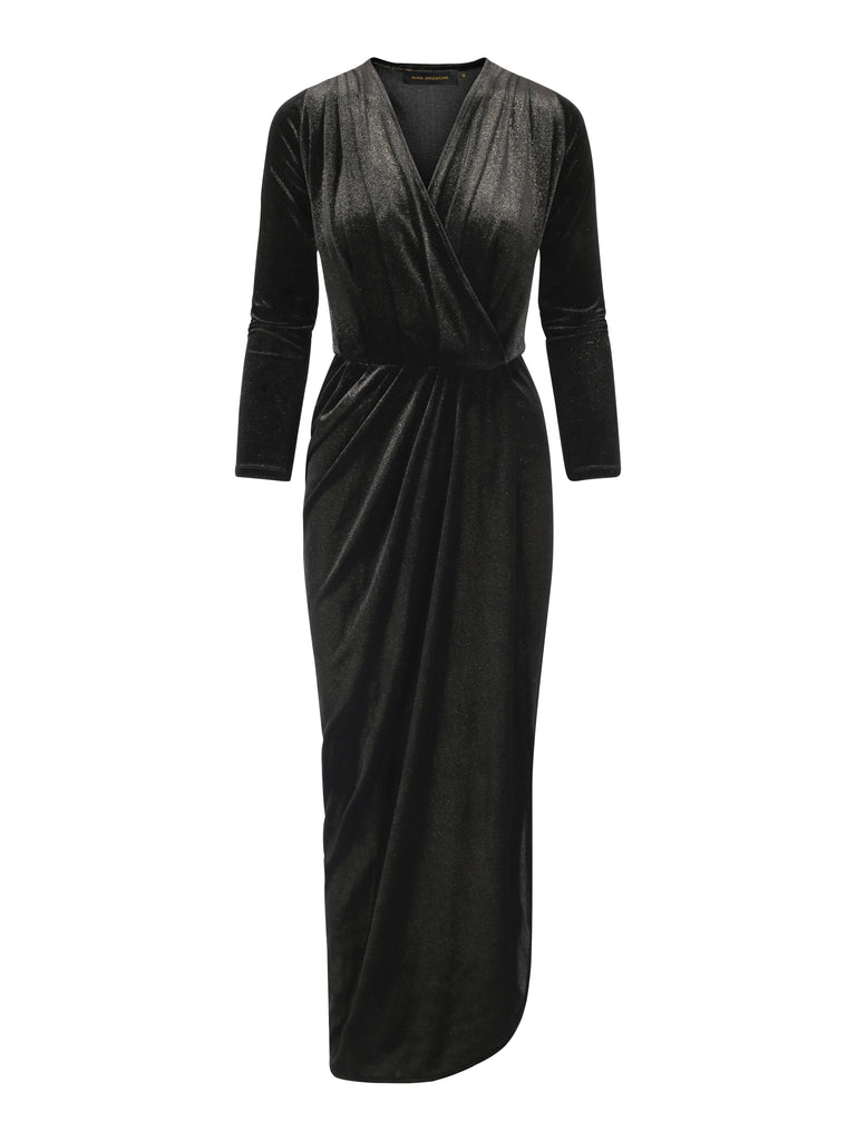 Dress Aldi Long Velvet Black/Gold Shimmer