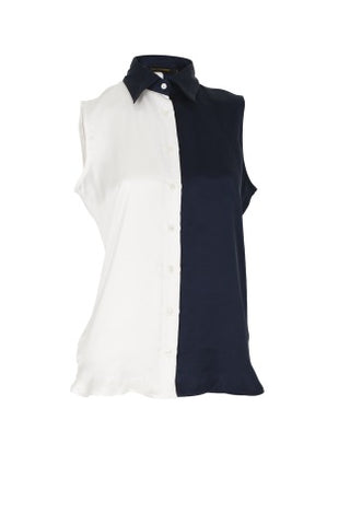 Blouse Cassidy Silk Navy/White