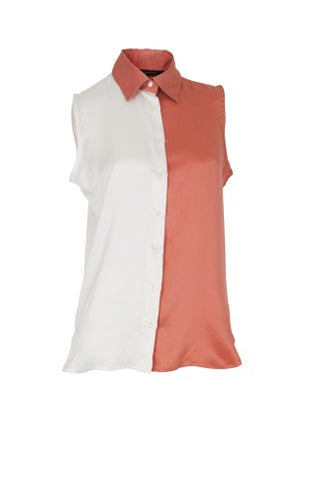 Blouse Cassidy Silk Peach/White