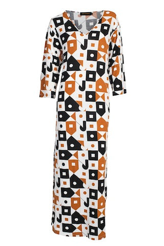 Dress Anja Print  Blk/Copper