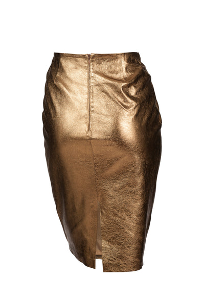 Pencil Leather Skirt Gold