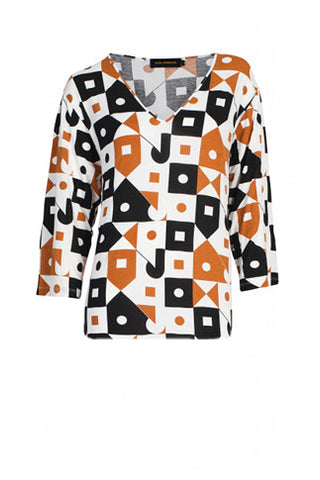 Top Anja Print  Blk/Copper