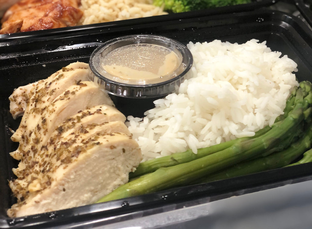 Organic Seasoned Chicken Breast, 5oz White Rice & Organic Asparagus