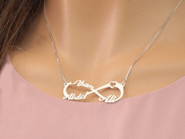 af263447acc95 Silver Infinity 3 Name Heart Necklace