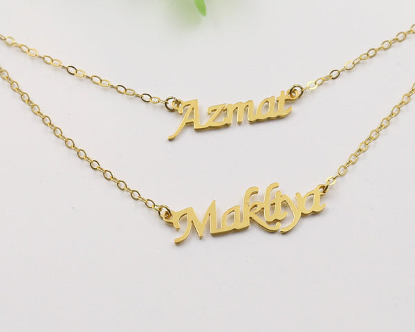 f6ed00c454d77 Gold Layered Double Names Necklace