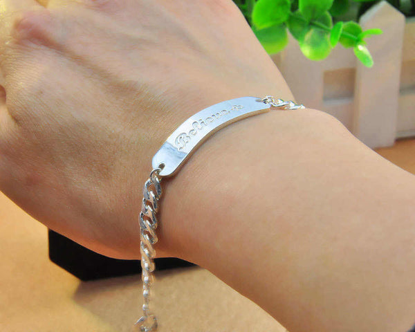 4bb4096f3ae38 Personalized Silver Engraved Name ID Bracelet Link Chain