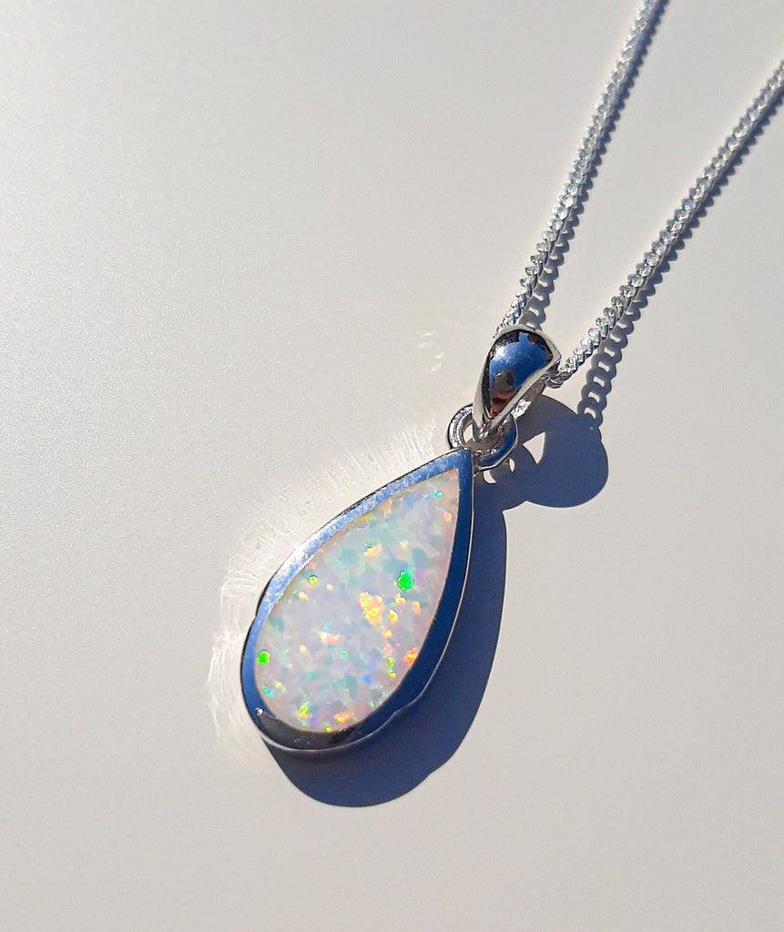 Silver White Opal Tear Drop Pendant