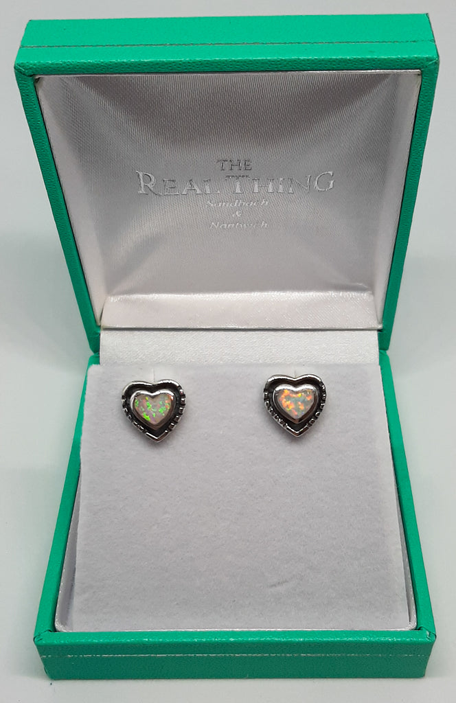 Silver Oxidized Opal Heart Stud Earrings