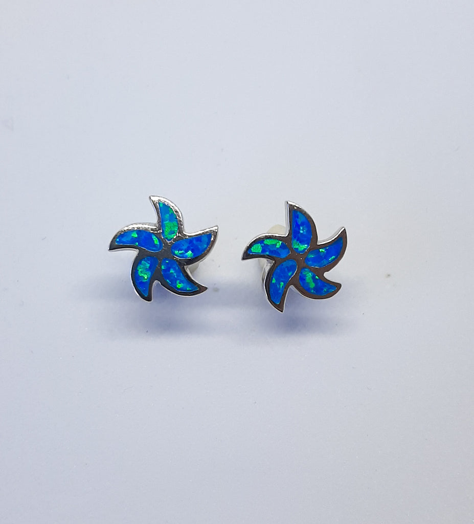 Blue Opal Swirl Stud Earrings