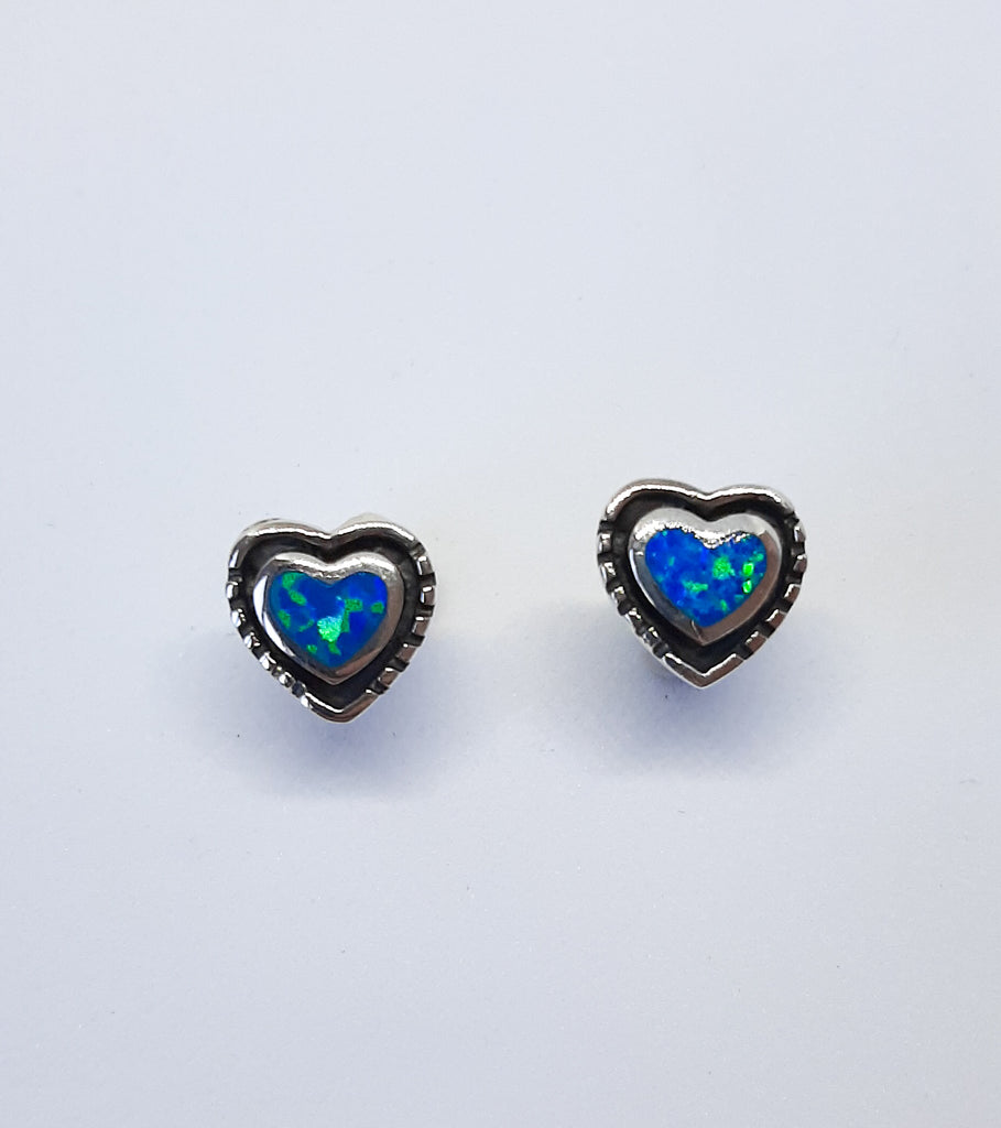oxidised silver & blue opal heart stud earrings