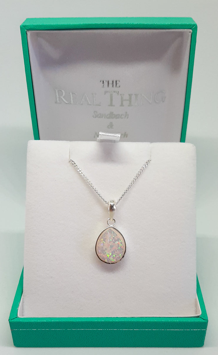 Silver & white opal teardrop pendant on silver chain
