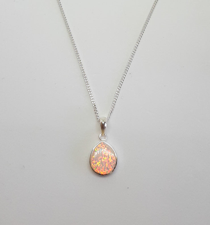 Raised White Opal Tear Drop Pendant