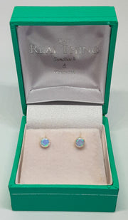 Round Dainty Blue Opal Stud Earrings