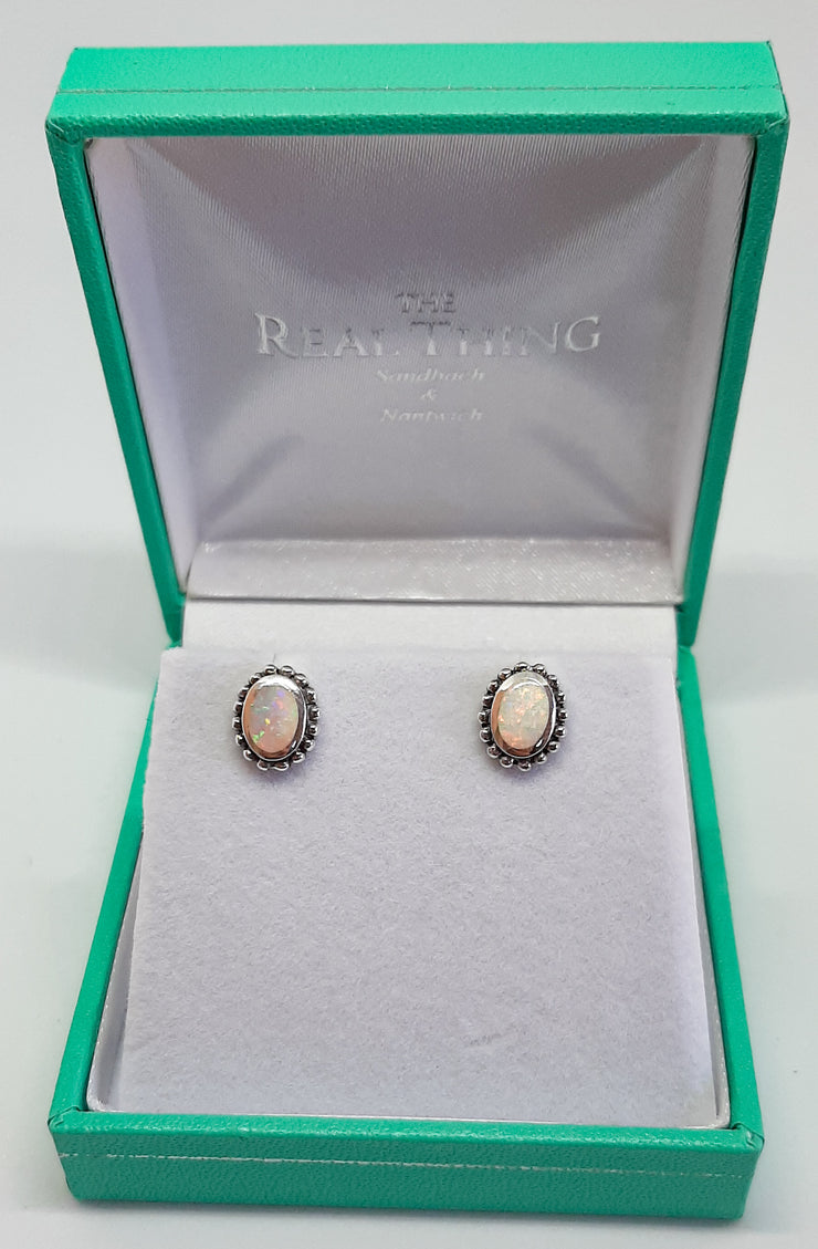 White Opal Bobble Edge Stud Earrings