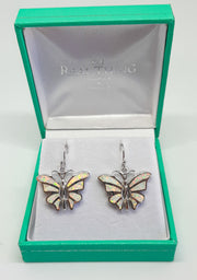 Silver & white opal butterfly drop earrings