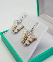 White Opal Butterfly Drop Earrings