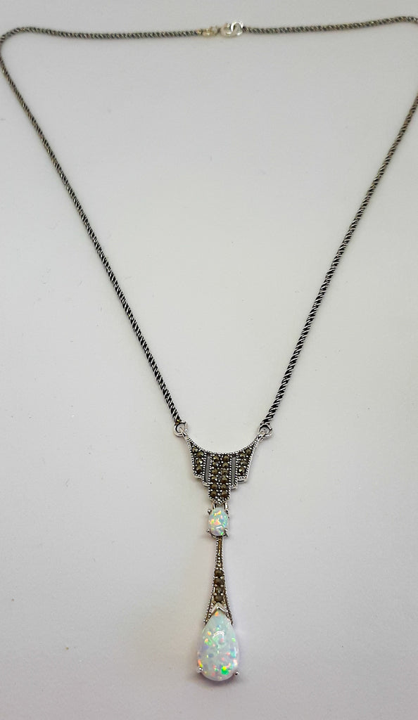 White Opal & Marcasite Long Drop Necklace