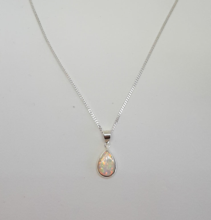 White Opal Tear Drop Pendant