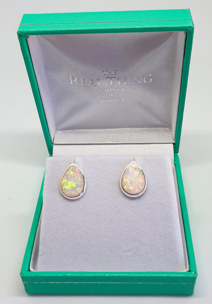 silver & white opal teardrop stud earrings