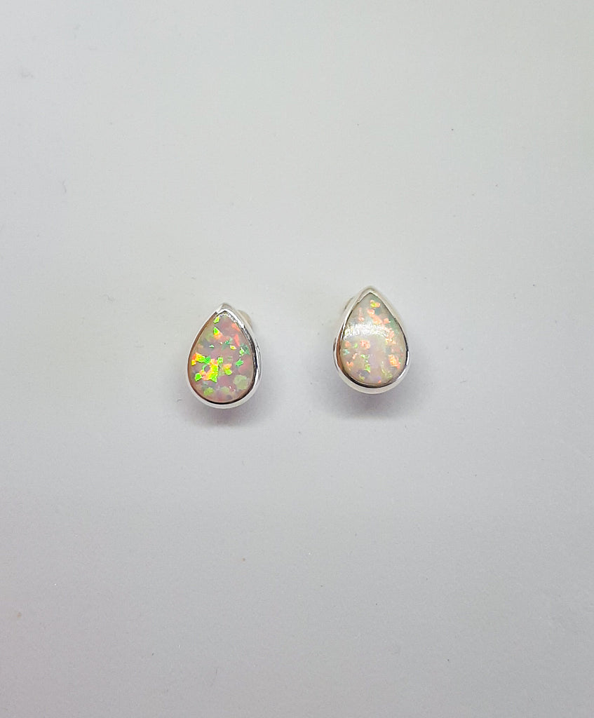 White Opal Tear Drop Stud Earrings