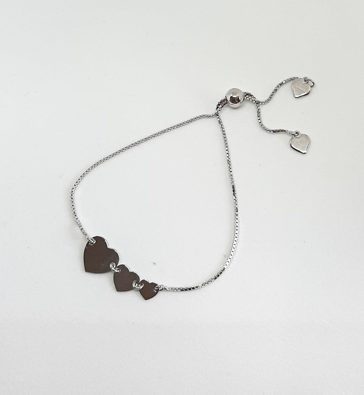 Silver Triple Heart Slider Bracelet