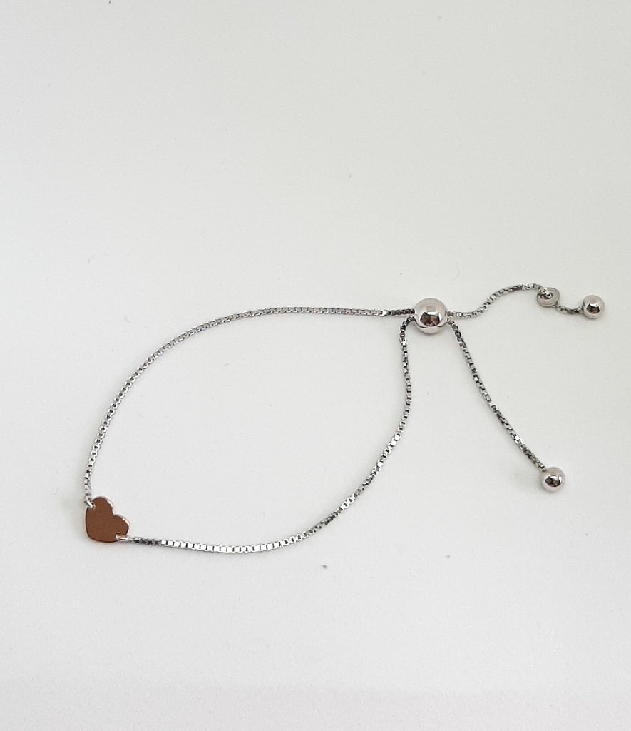 Silver Mini Rose Gold Heart Slider Bracelet