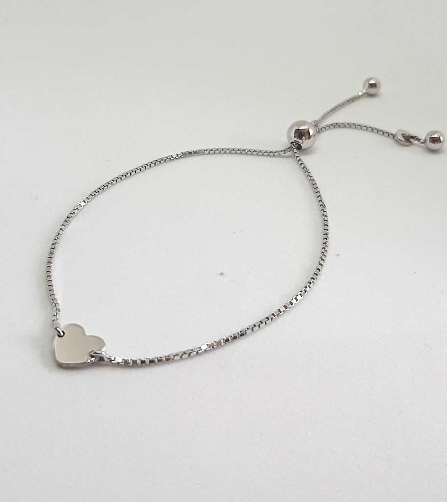Silver Mini Heart Slider Bracelet