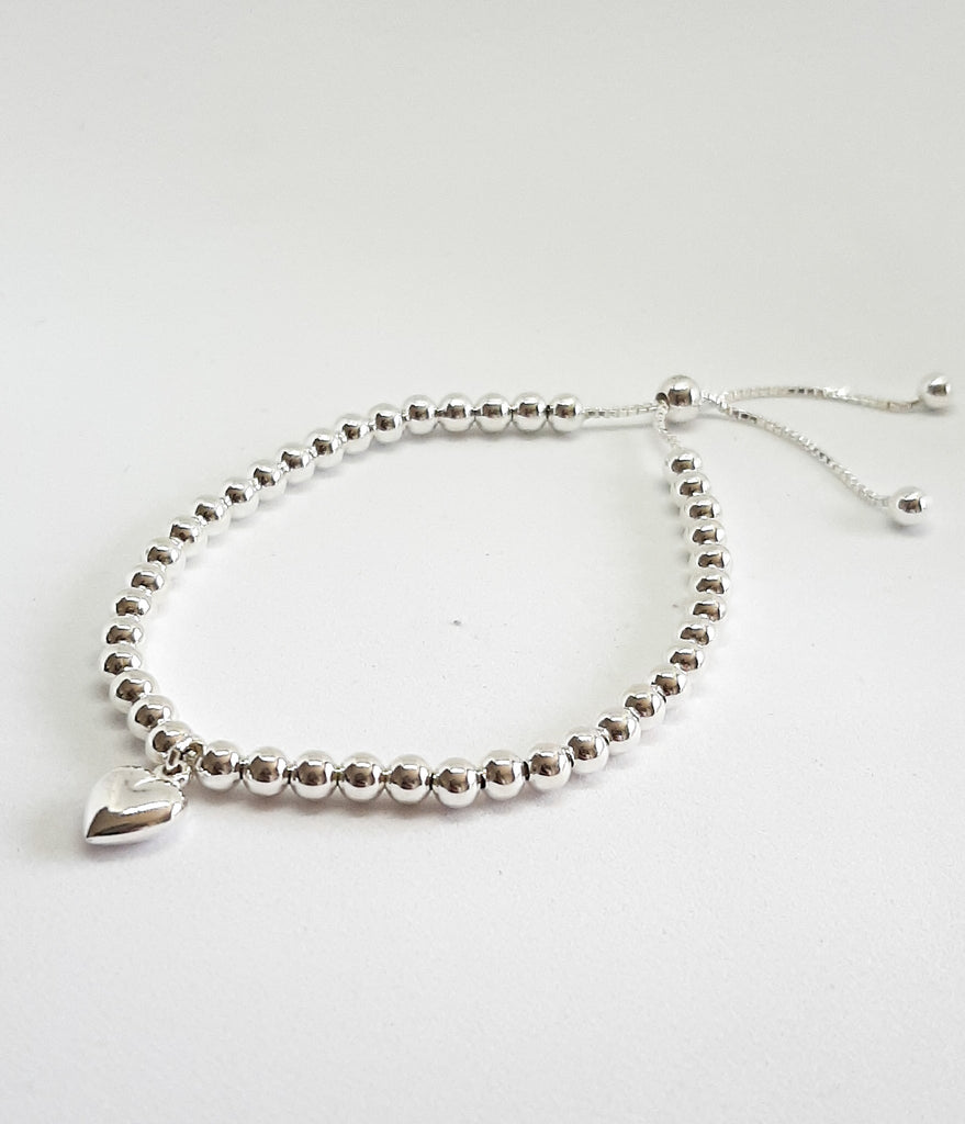 Silver Beaded Heart Slider Bracelet