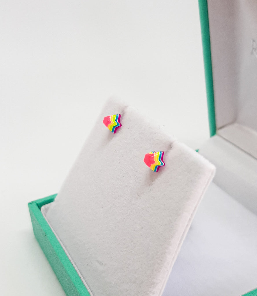 Neon Rainbow Star Stud Earrings