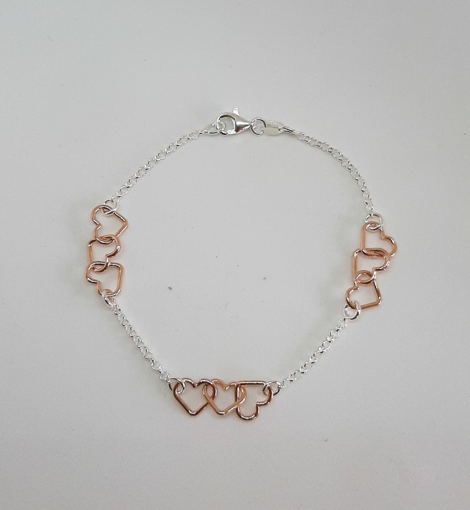 Silver & Rose Gold Linked Hearts Bracelet