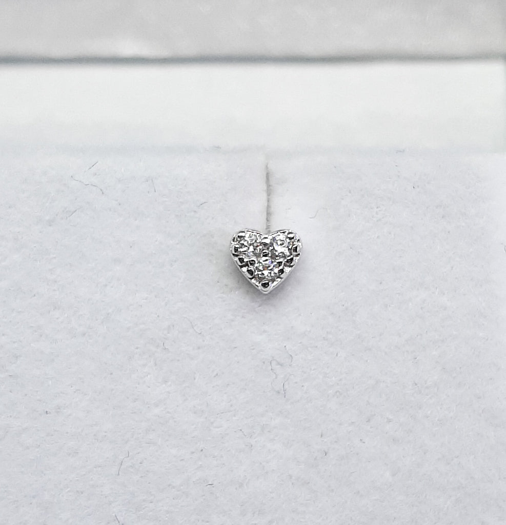 Small CZ Heart Stud Earrings