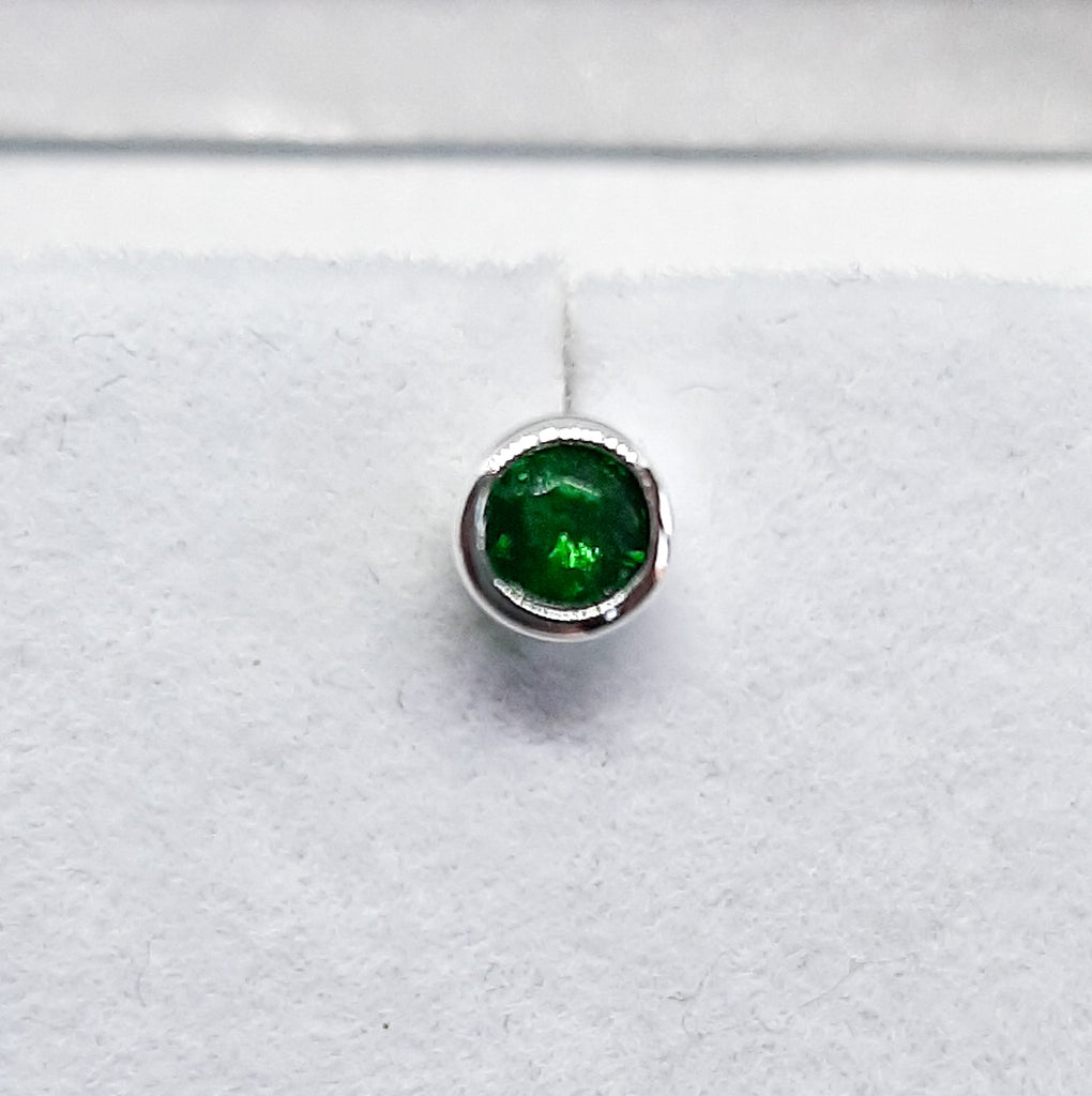 Silver Small Circle Green Emerald May Birthstone Stud Earrings