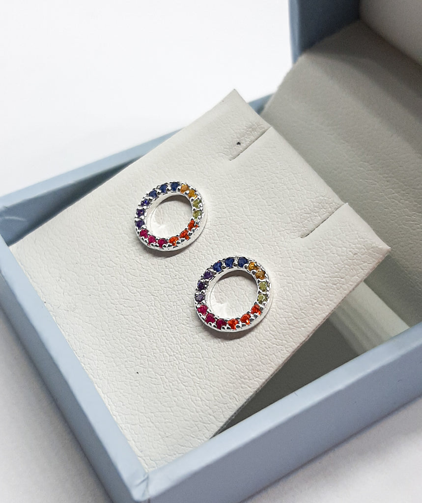 Dew CZ Rainbow Circle Stud Earrings