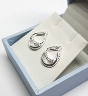 Dew Open Tear Drop Loop CZ Stud Earrings