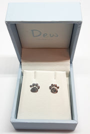 Dew Paw Print Stud Earrings