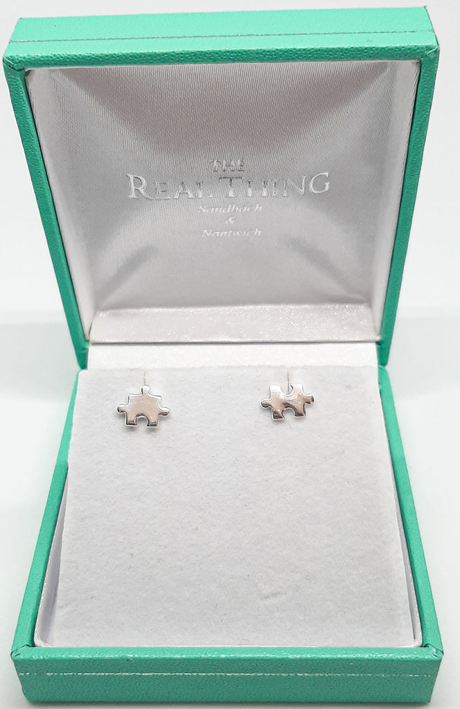 Silver Odd Jigsaw Stud Earrings