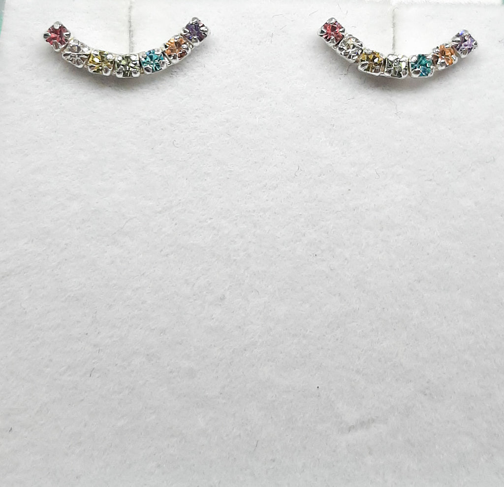 Rainbow Crystal Curve Ear Climbers