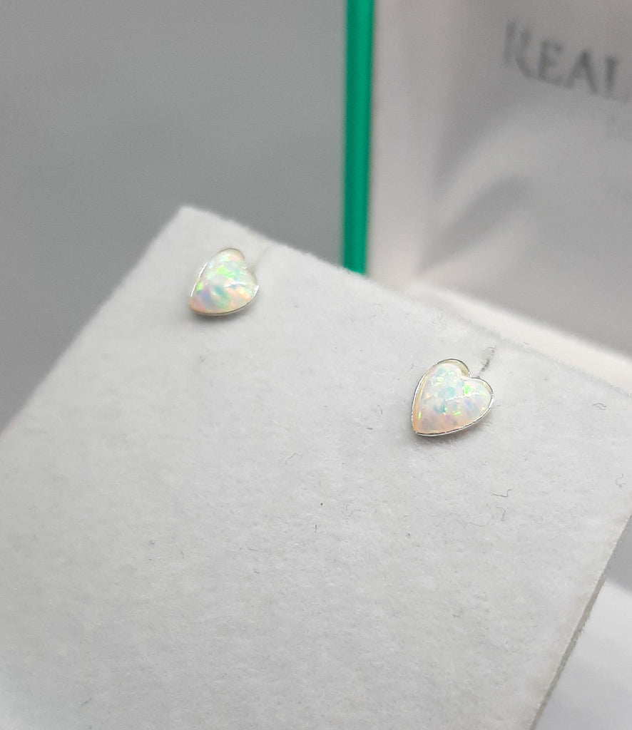 Domed Heart White Opal Stud Earrings