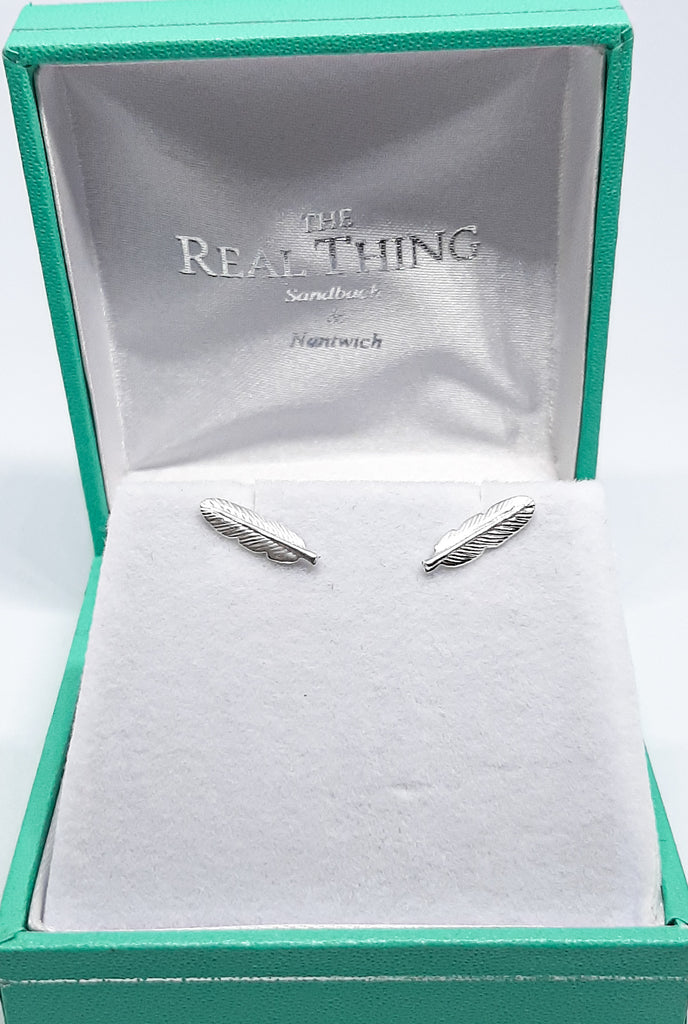 Silver Faith Feather Stud Earrings