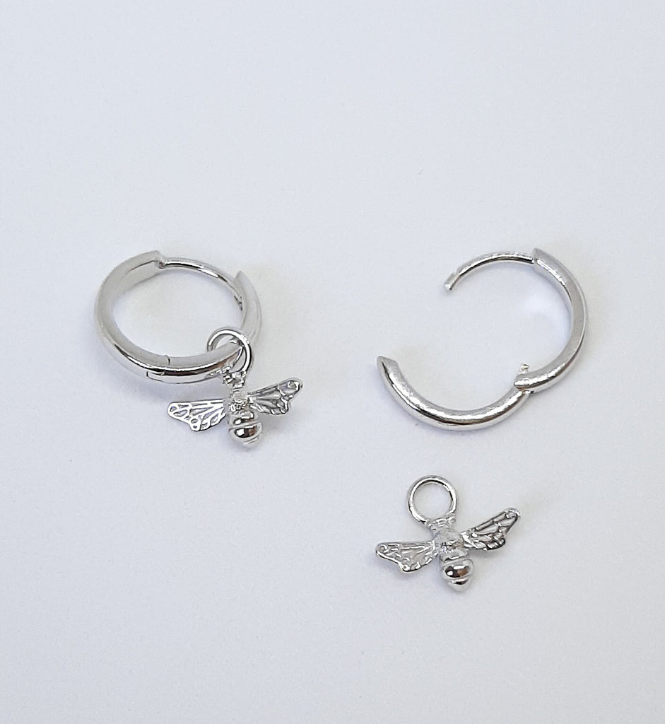 Silver Bee Huggie Hoop Earrings