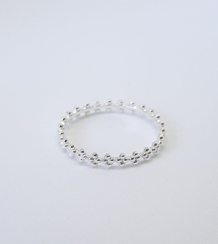 Silver Flower Bobble Ring