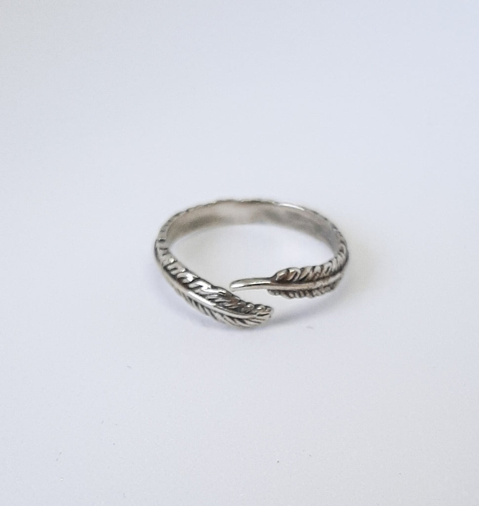 Silver Adjustable Feather Ring