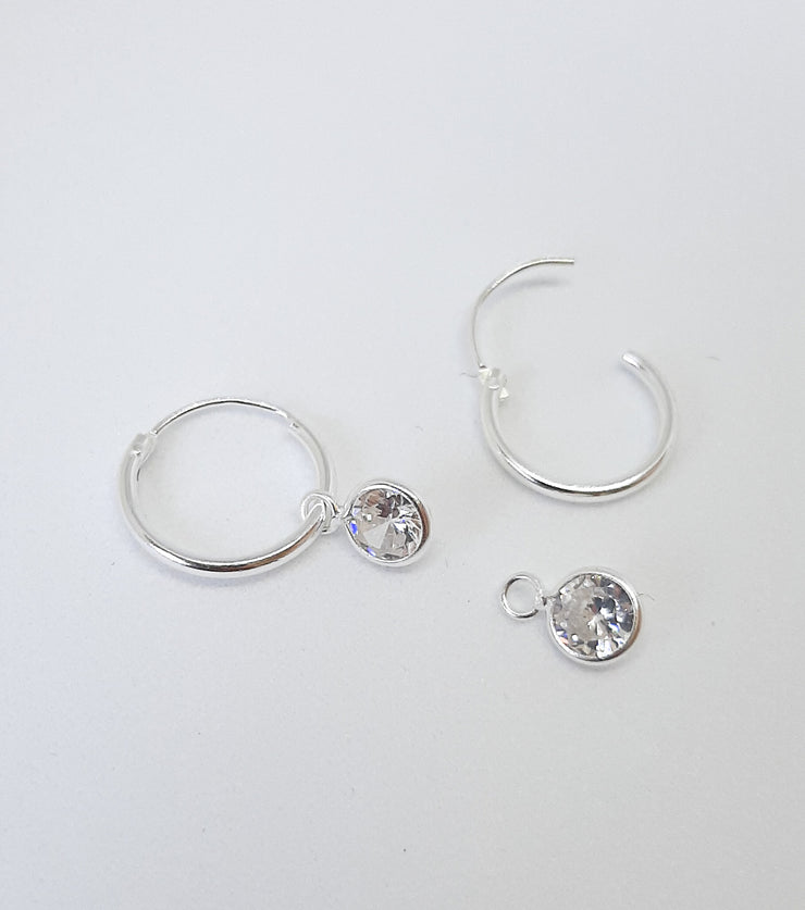 Silver Hoops with Clear Crystal