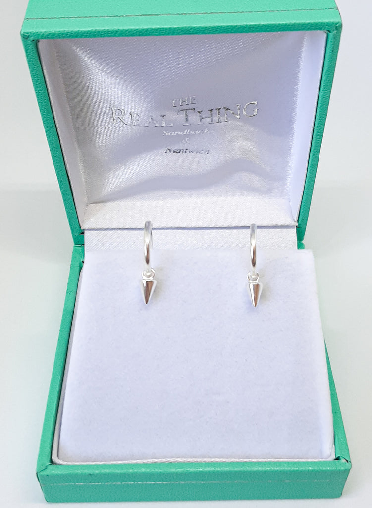 Silver Dangly Triangle Hoop Earrings